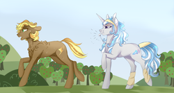 Size: 1024x549 | Tagged: artist:anyatrix, earth pony, female, leg warmers, magical gay spawn, mare, oc, oc only, oc:opal, oc:whiplash, offspring, parent:braeburn, parent:rarity, parent:soarin', parents:rarilane, parents:soarburn, parent:thunderlane, pony, safe, sweat, unicorn, whistle