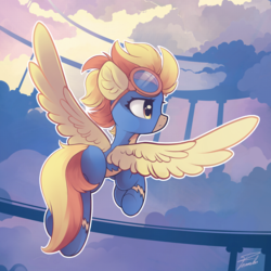 Size: 2200x2200 | Tagged: artist:freeedon, clothes, cloudsdale, female, flying, goggles, mare, pegasus, pony, safe, solo, spitfire, uniform, wonderbolts uniform
