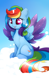 Size: 1250x2000 | Tagged: safe, artist:madacon, rainbow dash, pegasus, pony, chest fluff, cloud, cute, cutie mark, dashabetes, female, hooves, mare, on a cloud, sitting, sitting on a cloud, smiling, solo, sparkles, spread wings, starry eyes, wingding eyes, wings