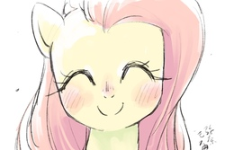 Size: 1800x1200 | Tagged: safe, artist:yanamosuda, fluttershy, pegasus, pony, blushing, bust, cute, eyes closed, female, portrait, shyabetes, signature, simple background, smiling, solo, white background