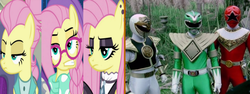 Size: 1280x480 | Tagged: safe, edit, edited screencap, screencap, fluttershy, fake it 'til you make it, alternate hairstyle, businessmare, fluttergoth, frown, goth, gothic, green ranger, hipstershy, mighty morphin power rangers, multiple personality, power rangers, power rangers dino thunder, power rangers zeo, red ranger, severeshy, tommy oliver, white ranger