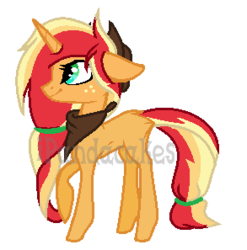 Size: 293x297 | Tagged: safe, artist:ipandadopts, oc, oc only, unicorn, base used, blank flank, female, floppy ears, freckles, magical lesbian spawn, mare, neckerchief, offspring, parent:applejack, parent:sunset shimmer, parents:appleshimmer, simple background, solo, transparent background, watermark
