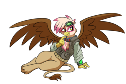 Size: 1500x1000   Tagged: source needed, safe, artist:madmax, oc, oc only, oc:paharita, griffon, fallout equestria, clothes, female, goggles, pipbuck, simple background, solo, spread wings, sultry pose, transparent background, wings