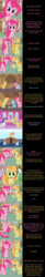 Size: 2000x12156 | Tagged: safe, artist:mlp-silver-quill, junebug, petunia paleo, pinkie pie, rarity, dinosaur, tyrannosaurus rex, comic:pinkie pie says goodnight, clothes, comic, donut, dress, food, fossil, holiday, list, looking at you, mirrors, ocean, ponyville, scroll, shark fin, sweat, upside down