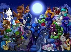 Size: 3395x2472 | Tagged: safe, artist:pridark, princess luna, sweetie belle, oc, oc:dark straw, oc:firestorm, oc:mango bloom, oc:quick fix, oc:sable switch, oc:sunset gears, oc:tectus ignis, bat pony, changeling, earth pony, hybrid, pony, robot, unicorn, zony, bat pony oc, changeling oc, commission, full moon, glowing horn, looking at you, moon, night, not rainbow dash, open mouth, rainbow hair, stars, sweetie bot
