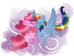 Size: 559x420 | Tagged: safe, artist:dippin-dott, artist:pinkablue, pinkie pie, rainbow dash, earth pony, pegasus, pony, collaboration, cute, dashabetes, diapinkes, eyes closed, female, hnnng, lesbian, mare, pinkiedash, shipping, smiling