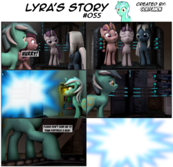 Size: 3929x3805   Tagged: safe, artist:goatcanon, bacon braids, lyra heartstrings, night glider, sugar belle, comic:lyra's story, 3d, comic, equal cutie mark, equal town, our town, source filmmaker, starlight's village, teleportation, teleporter