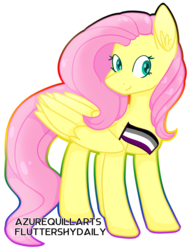 Size: 1226x1602 | Tagged: safe, artist:azure-quill, fluttershy, pegasus, pony, asexual, asexual pride flag, female, headcanon, lgbt headcanon, mare, pride, pride flag, sexuality headcanon, simple background, solo, transparent background