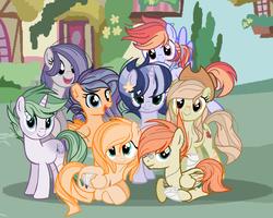 Size: 1134x908   Tagged: safe, artist:spirturiel, oc, oc only, oc:apple tide, oc:chaos, oc:half-diamond, oc:lightells, oc:party cream, oc:sentry storm, oc:white comet, dracony, earth pony, hybrid, pegasus, pony, unicorn, bandage, bandaid, base used, cowboy hat, ear piercing, earring, female, freckles, group photo, hat, injured wing, interspecies offspring, jewelry, male, mare, next generation, offspring, parent:applejack, parent:big macintosh, parent:double diamond, parent:fluttershy, parent:party favor, parent:pinkie pie, parent:rainbow dash, parent:rarity, parent:soarin', parent:spike, parent:thunderlane, parent:twilight sparkle, parents:doubledash, parents:fluttermac, parents:partypie, parents:soarlight, parents:sparity, parents:thunderjack, piercing, scar, stallion, stetson