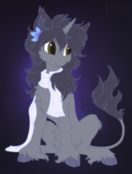 Size: 1038x1374 | Tagged: artist:hioshiru, chest fluff, classical unicorn, clothes, cloven hooves, female, flower, flower in hair, leonine tail, mare, oc, oc:kate, oc only, pony, safe, scarf, sitting, solo, unicorn, unshorn fetlocks