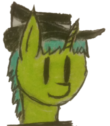 "Size: 1384x1572 | Tagged: artist:antique1899, bust, fallout, fallout equestria, hat, oc, oc:live ""derp"" bait, oc only, request, safe, simple background, solo, traditional art, transparent background"