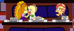 Size: 4032x1682 | Tagged: adagio dazzle, applejack, artist:bigpurplemuppet99, blushing, dazzlejack, equestria girls, female, kissing, lesbian, match game, match game (game show), safe, shipping, sunsagio, sunset shimmer