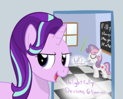Size: 1000x800 | Tagged: artist:mightyshockwave, chalkboard, classroom, female, filly, friendship academy, marks for effort, safe, spoiler:s08e12, starlight glimmer, steamed hams, sweetie belle, teaching, the simpsons