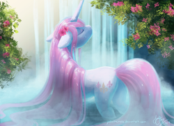 Size: 1024x745 | Tagged: artist:joellethenose, bathing, beautiful, beauty, cute, elegant, eyes closed, female, fleurabetes, fleur-de-lis, flower, flower in hair, impossibly long hair, long mane, long tail, mare, outdoors, pond, pony, precious, relaxing, safe, solo, tree, unicorn, waterfall