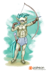 Size: 1002x1500 | Tagged: safe, artist:smudge proof, terramar, classical hippogriff, hippogriff, anthro, plantigrade anthro, surf and/or turf, abs, aiming, archer, armpits, arrow, belly button, bow (weapon), bow and arrow, clothes, featureless chest, loincloth, male, muscles, partial nudity, patreon, patreon logo, reward, simple background, solo, topless, transparent background, weapon