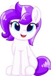 Size: 685x1028   Tagged: safe, artist:rivin177, oc, oc only, unicorn, adorable face, blue eyes, cute, female, mane, mare, purple, simple background, sitting, solo, sweet, transparent background