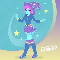 Size: 4000x4000 | Tagged: safe, artist:mashoart, artist:wumbl3, derpibooru exclusive, edit, oc, oc:chroma wave, equestria girls, boots, clothes, clothes swap, crossdressing, crossplay, cute, dress, eyelashes, femboy, hat, high heel boots, hoodie, looking at you, male, shoes, simple background, skirt, solo, trixie's hat