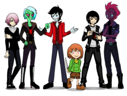 Size: 928x698 | Tagged: adventure time, artist:crydius, chara, crona, crossover, elements of disharmony, equestria girls, equestria girls-ified, knife, lord dominator, marshall lee, my little pony: the movie, oc, oc:crydius, safe, simple background, smiling, soul eater, tempest shadow, traditional art, transparent background, undertale, wander over yonder