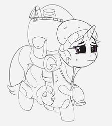 Size: 1280x1433 | Tagged: safe, artist:pabbley, starlight glimmer, unicorn, the mean 6, 30 minute art challenge, camping outfit, female, mare, partial color, solo, sweat drop
