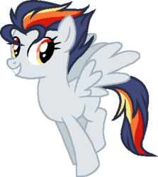 Size: 348x390 | Tagged: adoptable, artist:cookie-dolls, base used, female, mare, multicolored hair, oc, oc:firebolt storm, oc only, offspring, parent:rainbow dash, parent:soarin', parents:soarindash, pegasus, pony, safe, simple background, solo, transparent background