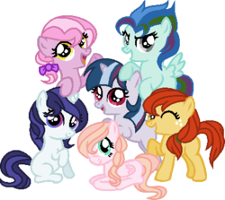 Size: 423x377 | Tagged: alternate mane six, artist:cookie-dolls, base used, blank flank, bow, earth pony, female, filly, foal, freckles, group, hair bow, hair over one eye, mane six opening poses, next generation, oc, oc:apple butter, oc:aurora frost, oc:candyfloss, oc:glimmer, oc only, oc:rosebud, oc:typhoon, offspring, parent:applejack, parent:fluttershy, parent:pinkie pie, parent:rainbow dash, parent:rarity, parent:twilight sparkle, pegasus, pony, safe, simple background, transparent background, unicorn
