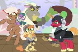 Size: 940x630 | Tagged: safe, artist:nootaz, big macintosh, discord, spike, oc, oc:dee twenty, dragon, pony, unicorn, captain wuzz, commission, dragons riding ponies, dungeons and dragons, epona, garbuncle, ogres and oubliettes, race swap, rearing, riding, sir mcbiggen, the legend of zelda, unicorn big mac