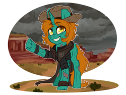 Size: 4000x3000 | Tagged: artist:annakitsun3, clothes, commission, duster, fallout equestria, female, ghoul, hat, mare, oc, oc:dust runner, oc only, safe, solo, unicorn
