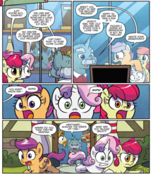 Size: 943x1087 | Tagged: safe, artist:agnesgarbowska, idw, apple bloom, colter sobchak, jeff letrotski, kingpin, scootaloo, snips, sweetie belle, ponyville mysteries, spoiler:comic, spoiler:comicponyvillemysteries2, bowling pin, cutie mark crusaders