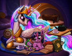 Size: 1400x1082   Tagged: safe, artist:harwick, princess celestia, spike, twilight sparkle, alicorn, dragon, pony, unicorn, baby, baby dragon, book, castle, color porn, crown, cup, cute, cutelestia, feather, female, filly, filly twilight sparkle, fireplace, food, jewelry, log, looking at each other, male, mare, momlestia, open book, open mouth, quill, regalia, scroll, smiling, spikabetes, tea, teacup, teapot, twiabetes, unicorn twilight, wood, younger
