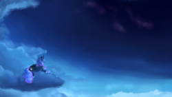 Size: 3840x2160 | Tagged: alicorn, artist:pucksterv, cloud, female, mare, night, pony, princess luna, safe, scenery, shooting star, sky, solo
