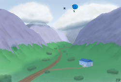 Size: 3600x2455 | Tagged: artist:the-furry-railfan, bush, cloud, dirt road, earth pony, flying, griffon, helium tank, hose, house, inflation, mountain, mountain range, oc, oc:gustriana, oc:interrobang, oc:linework, oc only, pony, safe, scenery, valley