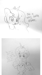 Size: 1595x2825 | Tagged: safe, artist:tjpones, princess luna, alicorn, pony, blatant lies, bust, comic, dialogue, duo, female, flirting, grayscale, guardluna, lineart, male, mare, monochrome, royal guard, sketch, stallion, subtle as a train wreck, this will not end well, traditional art