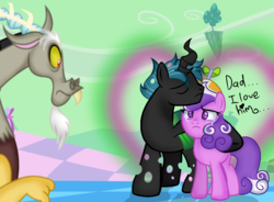 Size: 911x670 | Tagged: artist:doraeartdreams-aspy, base used, canon x oc, changeling, changeling oc, crying, dialogue, digital art, discord, earth pony, fanfic:daughter of discord, female, hybrid, interspecies offspring, male, mare, next generation, oc, oc:mothball, offspring, offspring shipping, parent:discord, parent:fluttershy, parent:queen chrysalis, parents:discoshy, pony, safe, screwball, shipping, straight