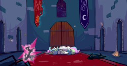 Size: 5760x2991 | Tagged: alicorn, artist:greyscaleart, broken glass, castle of the royal pony sisters, elements of harmony, female, mare, part of a set, pony, princess celestia, safe, side, solo