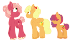 Size: 1305x761 | Tagged: safe, artist:romans-nerd-art, oc, oc only, oc:ginger gold, oc:jazz apple, oc:red gala, earth pony, pegasus, pony, bow, cousins, female, hair bow, hair over eyes, magical lesbian spawn, mare, offspring, parent:apple bloom, parent:applejack, parent:big macintosh, parent:cheerilee, parent:derpy hooves, parent:tender taps, parents:cheerimac, parents:derpyjack, parents:tenderbloom, simple background, tail bun, transparent background, unshorn fetlocks