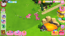 Size: 1280x720 | Tagged: safe, screencap, baff, ballista, pinkie pie, pipsqueak, queen chrysalis, spike, truffle shuffle, twilight sparkle, dragon, earth pony, pony, dragoness, female, game screencap, gameloft, gem, lava, lava pool, mare, pink