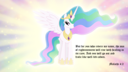 Size: 1790x1017 | Tagged: alicorn, artist:andoanimalia, artist:mihaaaa, bible verse, celestia day, edit, ethereal mane, female, malachi, mare, pony, princess celestia, religion, safe, smiling, spread wings, summer sun celebration, text, wings