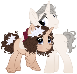 Size: 625x604 | Tagged: artist:lunarline, bow, daughter, father, female, lillies, lily, lily valley, male, safe, unicorn oc