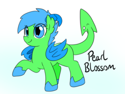 Size: 1200x900   Tagged: safe, artist:dudey64, oc, oc only, oc:pearl blossom, dracony, hybrid, female, filly, horns, simple background, smiling, white background