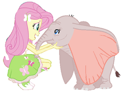 Size: 427x323 | Tagged: safe, artist:wesleyabram, fluttershy, elephant, equestria girls, crossover, dumbo