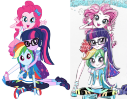 Size: 1637x1276 | Tagged: artist:ritalux, clothes, comparison, converse, cute, dashabetes, diapinkes, edit, equestria girls, equestria girls series, female, geode of sugar bombs, geode of super speed, geode of telekinesis, glasses, magical geodes, official, official art, pants, pantyhose, paper, pinkie pie, polyamory, ponytail, rainbow dash, safe, sandals, sci-twi, shipping fuel, shoes, simple background, skirt, sneakers, socks, transparent background, trio, twiabetes, twidashpie, twilight sparkle