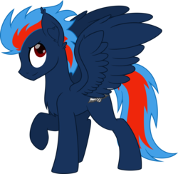 Size: 4000x3896 | Tagged: artist:airfly-pony2014, chest fluff, ear fluff, looking up, male, oc, oc:black the dragon, oc only, one hoof raised, pegasus, pony, safe, simple background, smiling, solo, spread wings, transparent background, vector, wings, wings up