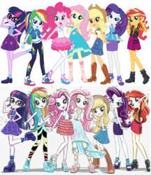 Size: 1920x2221 | Tagged: safe, artist:ritalux, edit, applejack, fluttershy, pinkie pie, rainbow dash, rarity, sci-twi, sunset shimmer, twilight sparkle, equestria girls, equestria girls series, official, applejack's hat, boots, bowtie, bracelet, clothes, comparison, converse, cowboy hat, denim skirt, dress, feet, female, freckles, geode of empathy, geode of fauna, geode of shielding, geode of sugar bombs, geode of super strength, geode of telekinesis, glasses, hat, high heel boots, high heels, humane five, humane seven, humane six, jacket, jewelry, leather jacket, looking at you, mane six, official art, pants, pantyhose, peace sign, pony coloring, ponytail, pose, sandals, shirt, shoes, simple background, skirt, sneakers, socks, stetson, transparent background