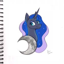 Size: 2750x2750 | Tagged: safe, artist:eeviart, princess luna, crescent moon, female, mare, moon, simple background, solo, traditional art, white background