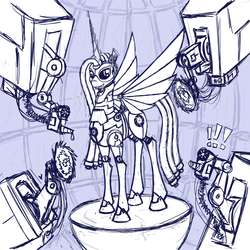 Size: 2000x2000 | Tagged: aperture science, artist:panzerwaffe, exclamation point, female, grin, mare, monochrome, oc, oc:molados, oc only, pony, portal (valve), robot, robot pony, safe, sketch, smiling, solo, spread wings, wings