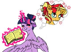 Size: 815x594 | Tagged: safe, artist:licjbit, sunset shimmer, twilight sparkle, alicorn, pony, unicorn, alternate hairstyle, blush sticker, blushing, book, cute, eyes closed, female, glowing horn, heart, lesbian, levitation, magic, shimmerbetes, shipping, simple background, starry eyes, sunsetsparkle, telekinesis, thought bubble, twiabetes, twilight sparkle (alicorn), wingding eyes