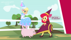 Size: 3999x2249 | Tagged: alternate hairstyle, angry, apple bloom, applejack, artist:metalhead97, barn, chewing, clothes, cloud, costume, dress, eating, equestria girls, farm, female, for whom the sweetie belle toils, froufrou glittery lacy outfit, giggling, hat, hennin, high heels, jewelry, look before you sleep, outdoors, pig, safe, shoes, show accurate, sisters, speech bubble, text, tree