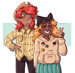 Size: 1000x974 | Tagged: artist:mochietti, badge, blushing, brightbutter, bright mac, cat ears, clothes, commission, confused, cowboy hat, cute, dark skin, duo, eyes closed, female, flannel, freckles, hat, heart, hoodie, human, humanized, jeans, male, naruto, otaku, pants, peace sign, pearabetes, pear butter, pokéball, pokémon, question mark, safe, shipping, skirt, smiling, stetson, straight, weeaboo