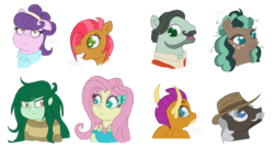 Size: 2063x1100 | Tagged: safe, artist:swasfews, babs seed, burnt oak, cracked wheat, fluttershy, minty mocha, smolder, suri polomare, wallflower blush, dragon, earth pony, human, pony, bust, dragoness, female, filly, mare, simple background, transparent background