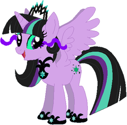 Size: 405x399 | Tagged: safe, artist:quanxaro, artist:selenaede, artist:user15432, twilight sparkle, oc, oc:twivine sparkle, alicorn, alicorn oc, base used, clothes, crown, flaming eyes, glowing eyes, hasbro, hasbro studios, jewelry, necklace, oc villain, regalia, shoes, twilight sparkle (alicorn), twivine sparkle